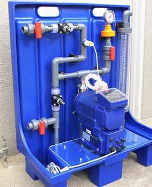 Standardised compact hypo dosing package with Iwaki IX motorised digital metering pumps for water treatment plant.