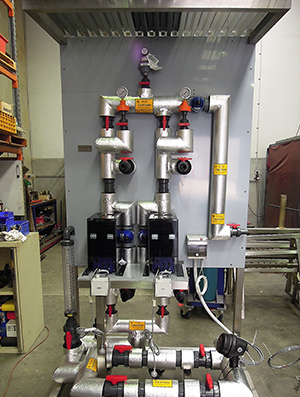 Standardised caustic dosing skid with Iwaki IX motorised digital metering pumps for water treatment plant.