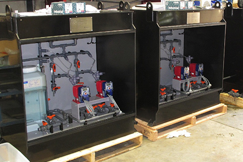 Custom built concentrated hypo dosing cabinets for offshore R.O. plant.
